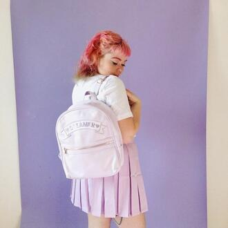 bag dreamcatcher dreamer pastel skater skirt pastel goth kawaii it girl shop pleated skirt white soft grunge pastel grunge cute kawaii grunge tumblr