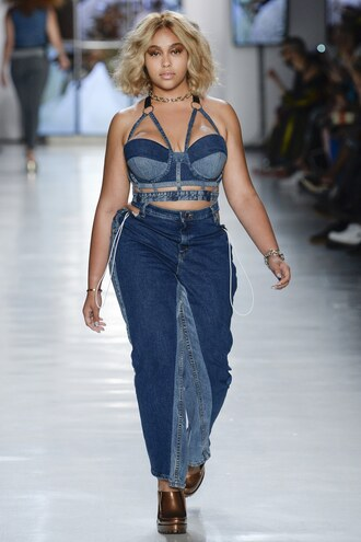 top jordyn woods bra bralette denim jeans runway nyfw 2017 ny fashion week 2017 chromat curvy
