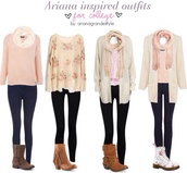 sweater,ariana grande,scarf,jeans