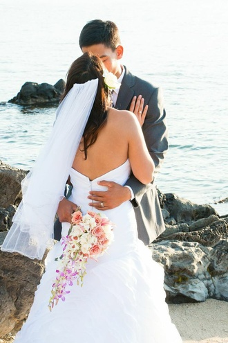 dress wedding dress color celebrity brand white dress heels veil bouquets flowers weddings inspiration beach dress beach weddings maui dream honeymoon tuxedo beach wedding