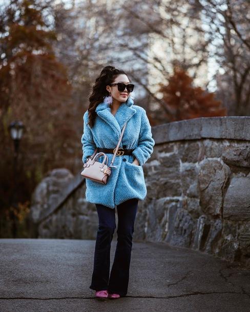 gracefullee made blogger coat belt jewels sunglasses shoes bag fur coat gucci belt winter outfits