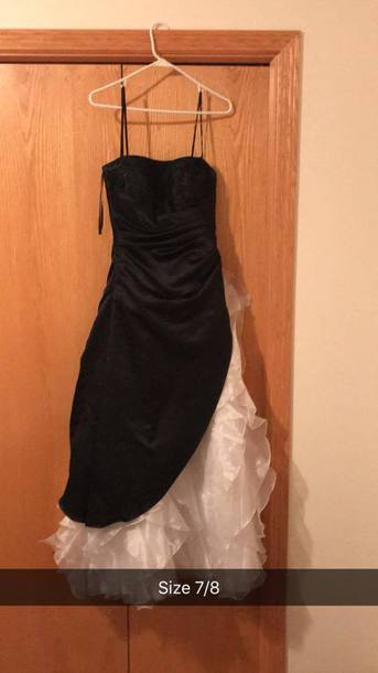 dress prom dress black dress white dress blank and white ruffle ruffle dress