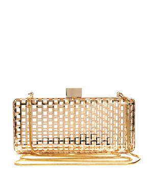 Pieces | Pieces Foxy Box Metal Weave Box Clutch Bag at ASOS