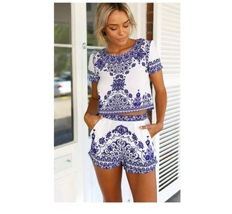 jumpsuit t-shirt printing summer outfits retro crewneck twin-set