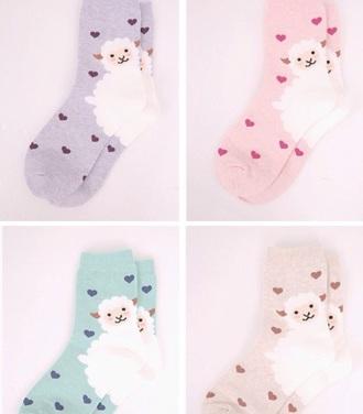 socks kawaii pink pastel pastel cute purple lavender alpacas cute fashion