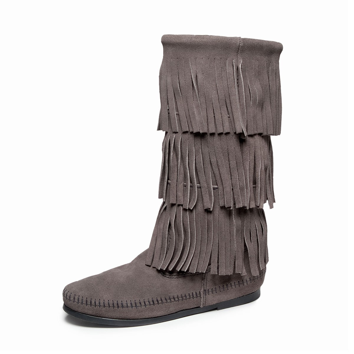 Moccasin women's triple fringe calf high boot