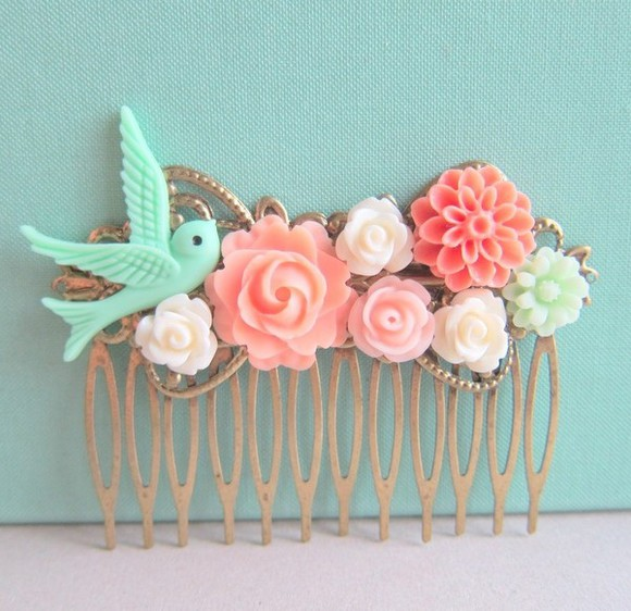 jewels mint pink blue bird peach ivory vintage hipter girly wedding clothes hair accessories hair clip hair pins, bees, pins, hair floral