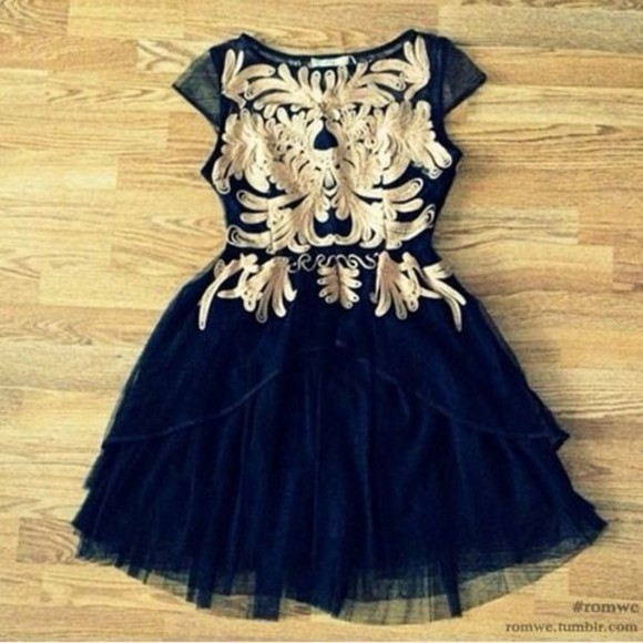 embroidered dress dress black and gold dress prom dress