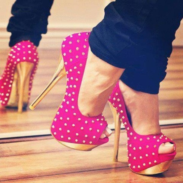 Shoes: high heels, polka dots, bright, diamonds - Wheretoget