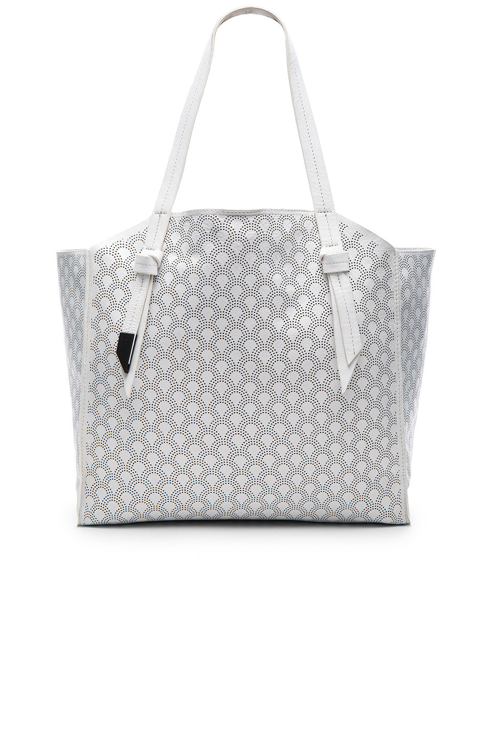 c7fdce69216a Prada Bibliothèque Watersnake-Paneled Leather Tote in white - Wheretoget