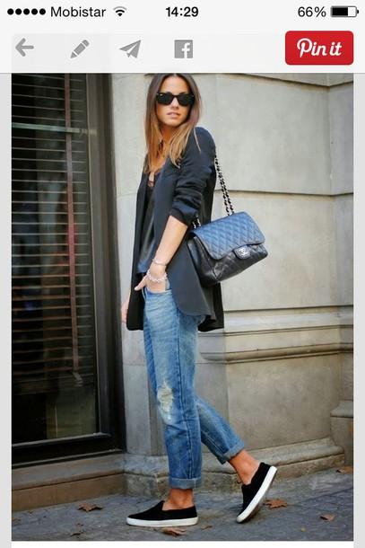 coat blazer jeans bag