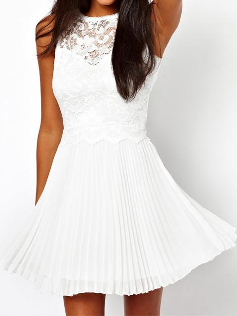 White Chiffon Skater Dress With Lace Detail | Choies