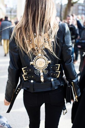 jacket gold leather jacket embellished embellished jacket