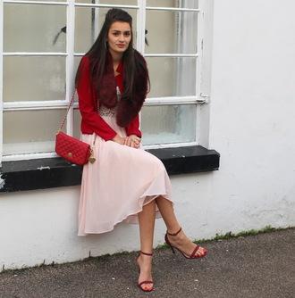 blogger peexo jacket pink dress red bag sandals