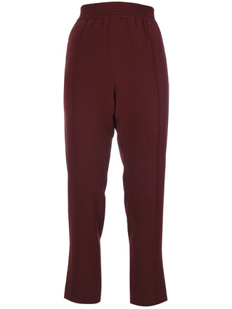 women silk red pants