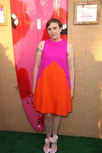 dress lena dunham celebrity style celebrity actress pink dress orange dress sandals summer dress