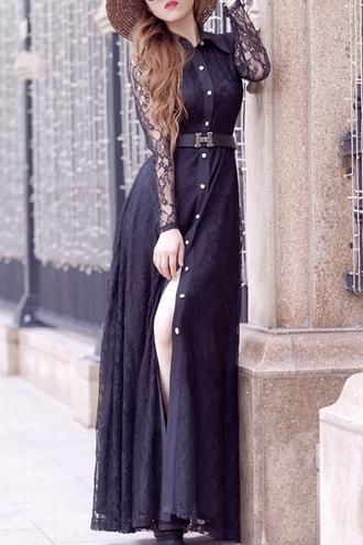 dress black dress black lace long dress fall outfits fall dress maxi dress noir robe zaful