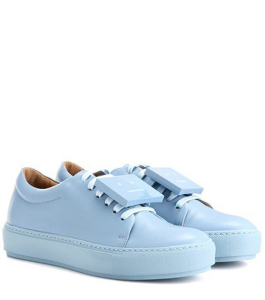 Acne Studios Adriana Turnup Leather Sneakers in blue