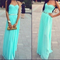 Charming light sky blue sweetheart long chiffon prom dress/formal/party dresses