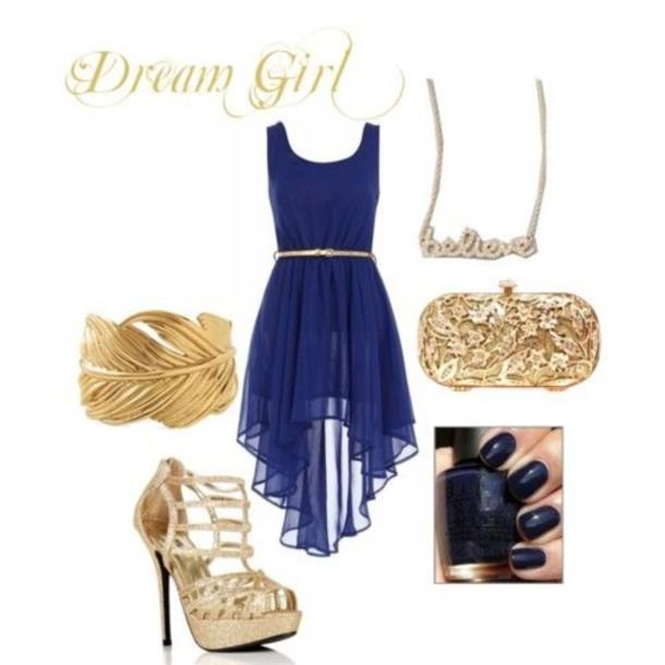 a8d7087876c6 dress, gold, blue, bracelets, necklace, shoes, high heels, bag ...