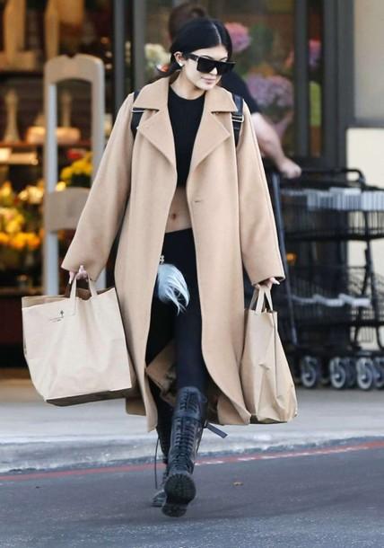 boots kylie jenner camel coat coat shoes sunglasses