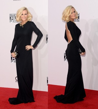 backless prom dress dress black gown american music awards jenny mccarthy