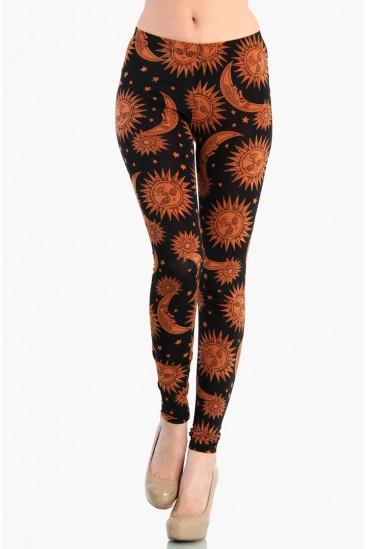 OMG Golden Sun and Moon Leggings - Orange