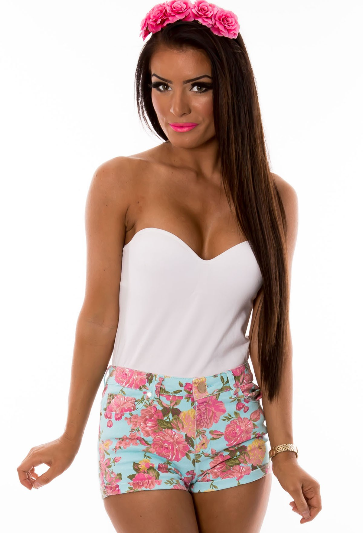 Sarcelles Multicolour Floral Print Denim Shorts | Pink Boutique
