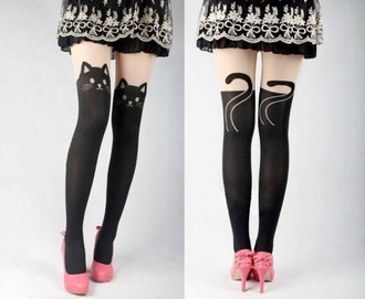 pants tights cats cat tights shoes pink pink shoes heels with bows pink heels pink heels with bows high heels pink high heels black tights cute tights skirt bows frilly skirt black skirt