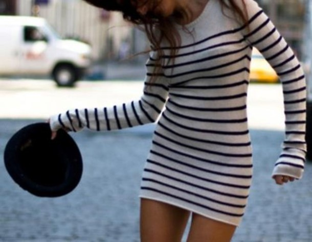 e4cc55ec5ea robe bershka navy mariniere French sailor shirt dress stripes sweater dress  black and white sailor stripes