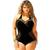 Chicloth See-through One Shoulder Black Swimsuit