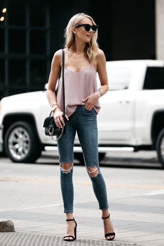 fashionjackson blogger top jeans shoes bag sunglasses jewels tank top shoulder bag sandals high heel sandals summer outfits