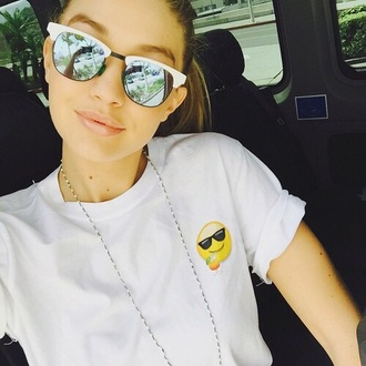 shirt sunglasses blouse t-shirt top gigi hadid instagram fashion model style emoji print white shirt chill white t-shirt white top emoji tee summer girl shirts emoji shirt