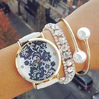 jewels lace print watch ishopcandy cream watch armcandy pearl bangle lace watch cream black black watch armcandy watch pearl bracelet