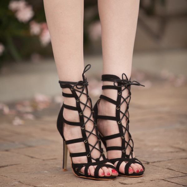 9379ac6db0da Black Faux Suede Cage Lace Up Single Sole Heels   Cicihot Heel Shoes online  store sales Stiletto Heel Shoes