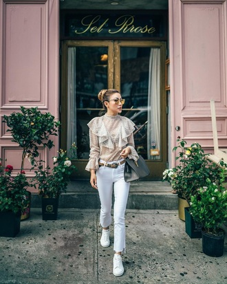 blouse ruffle sunglasses ruffled top see through see through blouse jeans white jeans sneakers white sneakers