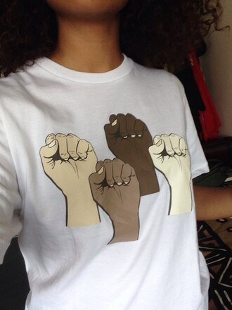 shirt fist colored hands tumblr pride black lives matter t-shirt power to the people help me pls white t-shirt cute wanting a shirt you need black latino black people black powere dope black power malcom x black panther party kinky hair white shirt black tumblr black excellence curly hair beautiful black people hands up dont shoot black is beautiful my black is beautiful natural hair blackpower blackpeople power african american