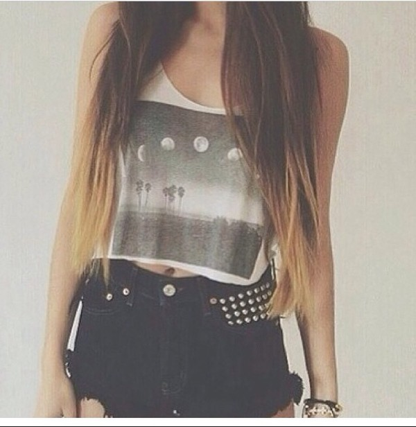 blouse moon beach studs silver High waisted shorts crop tops teenagers girly shorts
