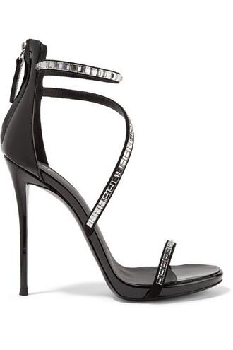 embellished sandals leather sandals leather suede black shoes