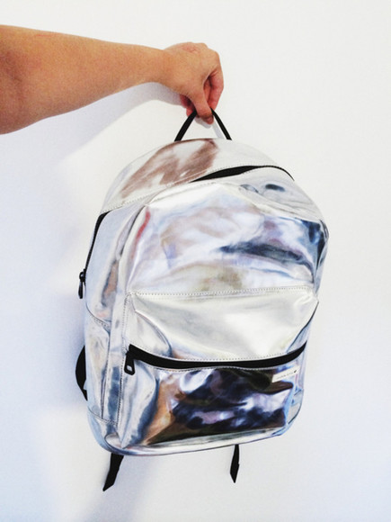 edgy bag backpack grunge holographic