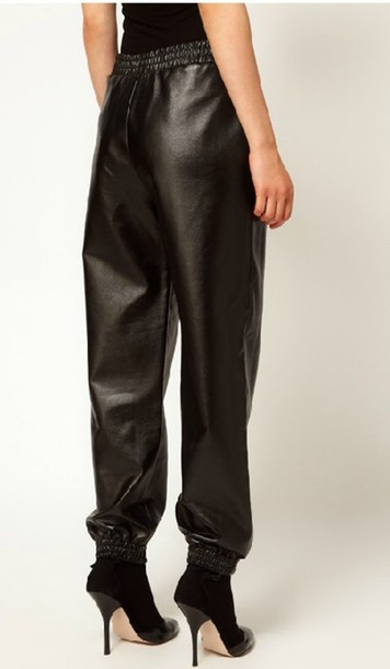 pants leather joggers black cute