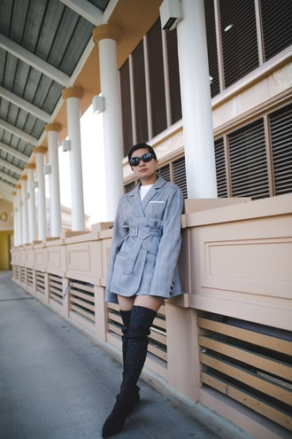 little miss violet blogger jacket belt dress shoes jewels t-shirt boots over the knee boots blazer