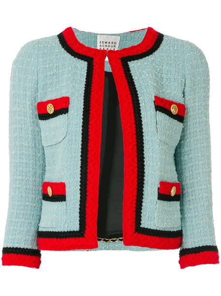 Edward Achour Paris - contrast trim tweed jacket - women - Polyamide/Polyester/Acetate/Virgin Wool - 36, Blue, Polyamide/Polyester/Acetate/Virgin Wool