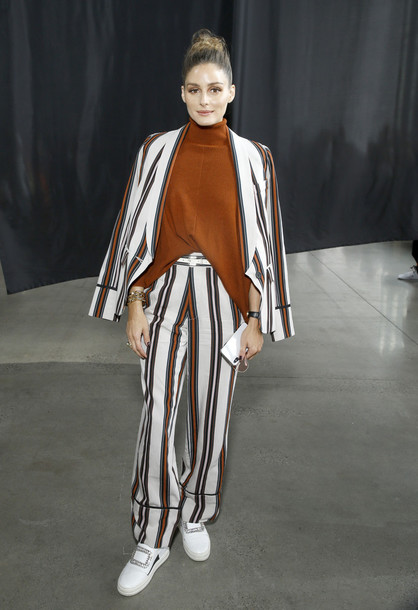 pants olivia palermo blogger blogger style fashion week stripes stripped pants suit blazer fall outfits