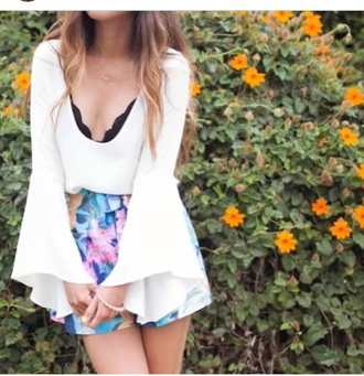 blouse white clothes shirt top flowy summer plunge v neck bra black floral shorts blue hippie chic vintage cute pretty sweet 70s style long sleeves