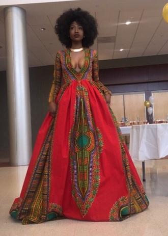 dress prom dress long dress tribal print dress