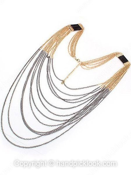 Gold Silver Multilayers Fashion Necklace - HandpickLook.com