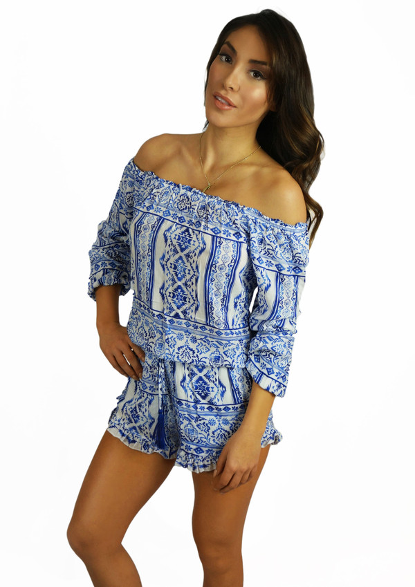 romper fashion style cool trendy off the shoulder long sleeves free vibrationz