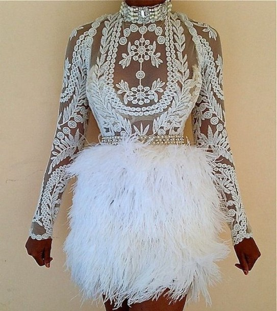 lace dress white dress dress white lace dress fur lace top see through dress skirt white feathers embroidered dress mesh feather skirt sheer lace dress