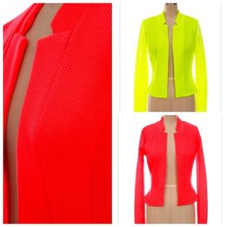jacket women's blazer neon yellow neon orange jacket neon blazer blazer